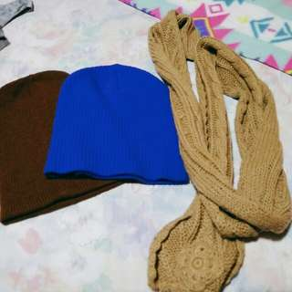 Set: Forever 21 bonet blue, brown and scarf
