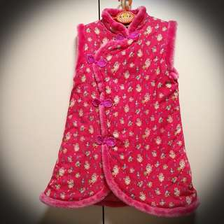 Girl's Chinese style pink flower dress