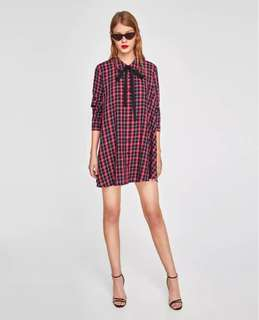 women's 2018 spring and autumn new retro chic check printed tie knot shirt A word dress