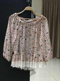 Mango Suit Pink Floral Top (Size S)