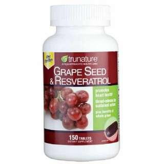 美國直送/Trunature葡萄籽 + 白藜蘆醇 (150粒)