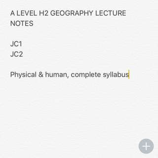 H2 geography a level lecture notes