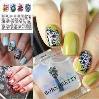 BORN PRETTY Nail Art Template Stamping Plate Spring Series Flower Rectangle Manicure Nail Art Image Plate