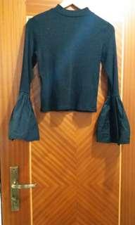 Black Bell Sleeve Ribbed Crop Top