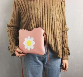 Cute Flower Print Sling Bag