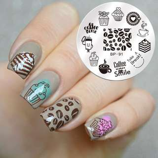 1 Pc BORN PRETTY Round 5.5cm Nail Art Stamp Template Dessert Coffee Time Design Cute Image Nail Stamping Plate BP-91