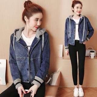 (S~2XL) 2018 denim jacket temperament stitching loose knit hooded jacket blouse