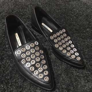Zara Black Leather Flat Shoes Loafers