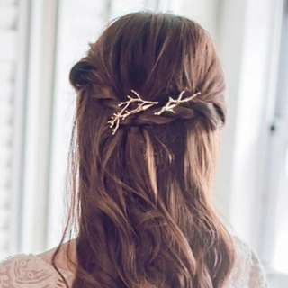 Korean Hair Clip - rustic twig/branch (gold)