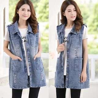 (S~5XL) Sleeveless cowboy vest vest vest jacket vest female spring and summer Korean version