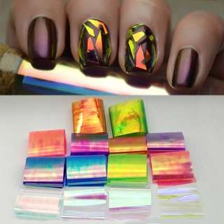 Latest Designs 18colors Laser Holographic Nail Foil Sticker Broken Glass Transfer Foil Decal Beauty Wraps