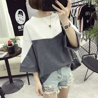 (M~2XL) Summer t-shirt loose spell color in the sleeves clothes