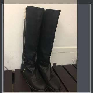 牛皮金色拉鍊平底長靴