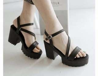 PO korean ulzzang chunky heels platform