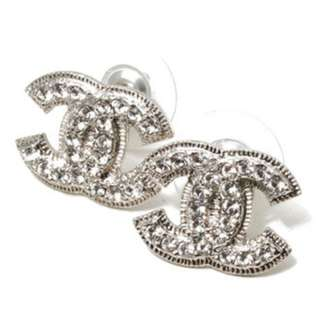 CHANEL Chanel Coco make rhinestone earrings