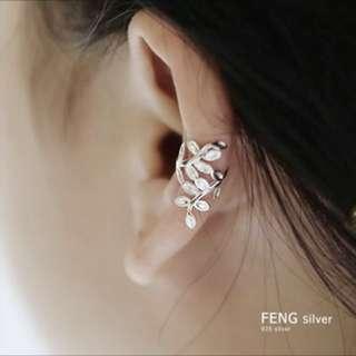 Silver 925 純銀 耳環 耳夾 ear rings ear clip 橄欖葉