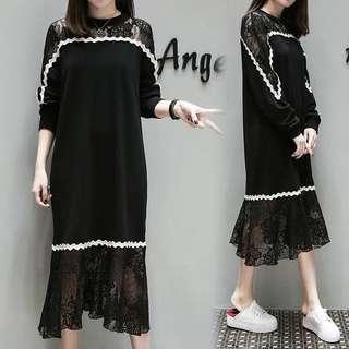 (XL~5XL) Korea Dress long section lace splicing skirt women's spring
