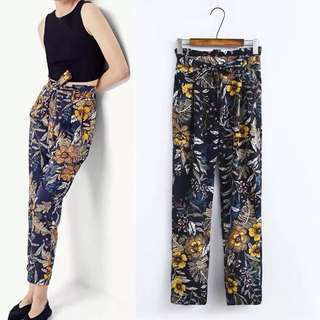 European flower printing high waist feet pants harem pants trousers female spring and summer