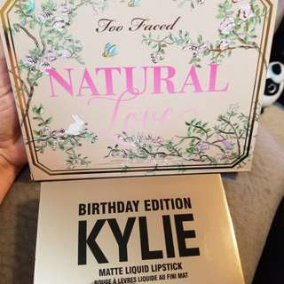 Too faced Natural makeup pallet and Kylie Birthday edition lipstick