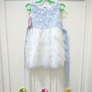 #MakinTebel Mabells Blue Floral Tile Party Dress Anak Balita Perempuan