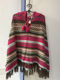Girl Knitted Shawl with Hood 3-4 yo