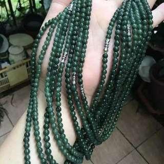 翡翠油青項鍊【尺寸】-周長約:500MM,珠子直徑約:4.8MM,88粒珠子。
