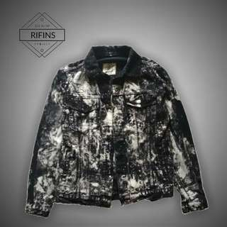 Jaket Jeans Denim - Black Splash Washing Jacket