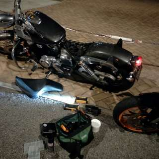 "Bike Been Rescue (Honda Shadow Slasher 400)         Location: NTU (Sideroad)            Time: 2.57am (Midnight)            Date: 2 Mar 18          Cause: Battery Dead (Jump Start)         ""Kureiji Response Team""      Emergency Service"