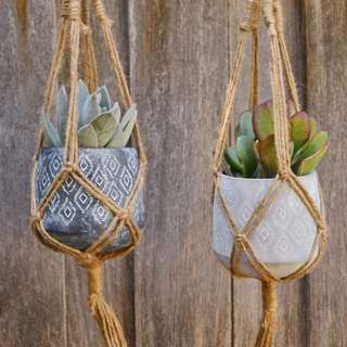 Small Patterned Concrete Hanging Planter with Natural Jute Macrame Hanger