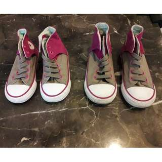 CONVERSE 2 Pairs AUTHENTIC high cut for girls in Pink, Size US /UK 9 and US/UK 7