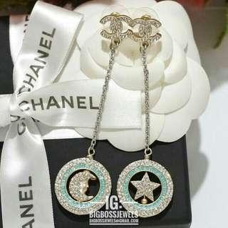 Gold Baby Blue Diamond Like Crystals Long Dangling Earrings