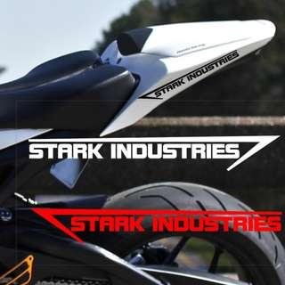 🚚 STARK INDUSTRIES 史塔克工業 鋼鐵人 復仇者聯盟 套貼 側貼 汽車 摩托車 機車 電動車 防水耐熱 一對