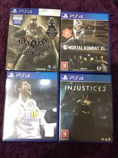 "USED GAME "" PS4 ""  BATMAN Arkham Knight SPECIAL EDITION ( $30 ) Mortal Kombat XL ( $40 ) Fifa 18 ( $50 ) INJUSTICE 2 ( $40 )"