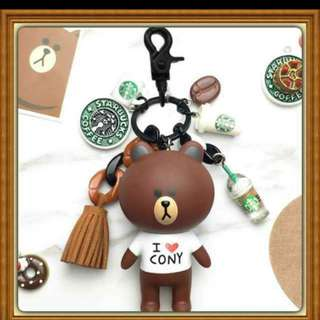 Starbucks Key Chain Brown and cony