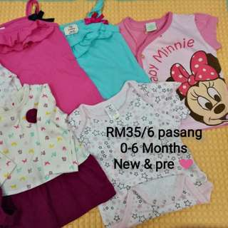 Baju Baby 6 pasang (New & Preloved)