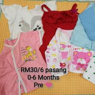 Baju Baby 6 pasang (Preloved)