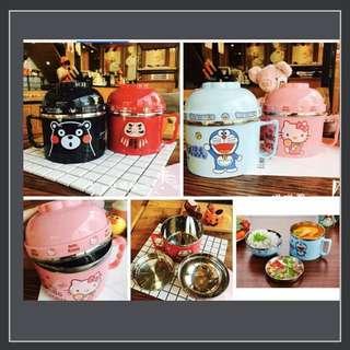 🚚 Ki日式不銹鋼泡麵碗,三層便當盒,多用碗