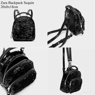 Original zara mini backpack sequin bag