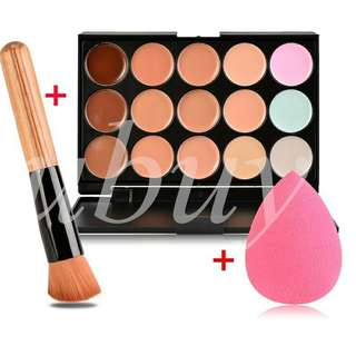 1 set palet concealer 15 warna (brush n sponge puff)