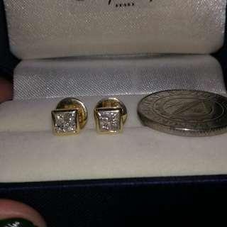 Real Diamond illusion 14k yellow gold earrings