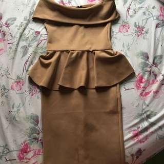 Dress coklat muda fit to L stretch