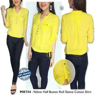 MEXX Yellow & Navy Half Button Roll Sleeve Cotton Shirt