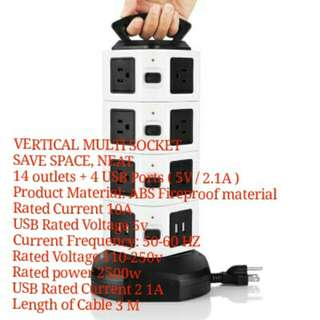 Smart Vertical Multi-Socket Power Strip, Extension Plug. Double Yi JW104 4 Layer