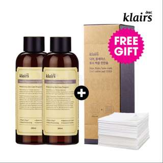 $42 [FREE SAMPLE] KLAIRS Bundle 2 Toners + 1 Box Cotton Pads