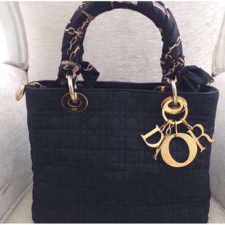 Authentic Lady Dior Cannage Microfibre GHW