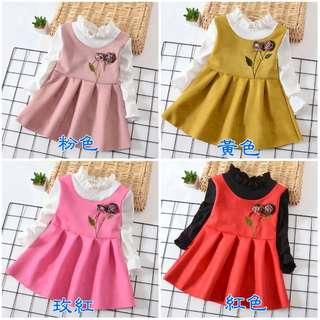 新春款女童連衣裙韓版兒童裙假兩件公主裙女寶寶童裝公主花朵