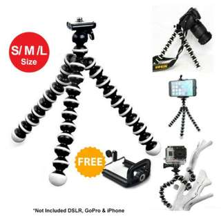 FREE POS Ready Stock Octopus Tripod Camera Stand Android With Clip For Any Phone -S/M/L