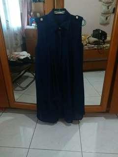 Casual navy chiffon dress