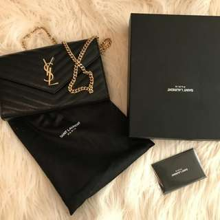 Ysl envelope monogram wallet chain bag