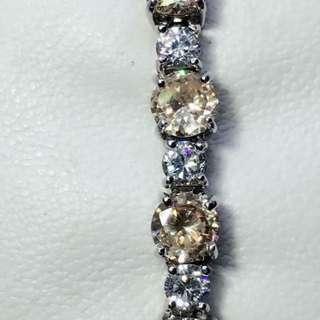 "Pre-Loved **Sparkling** Topaz & CZ stamped ster Silver tennis bracelet size 7.5"" 18.8grams"